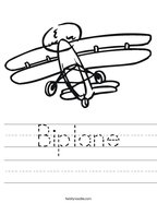 Biplane Handwriting Sheet