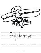 Biplane Handwriting Sheet
