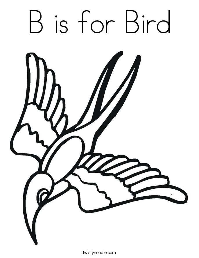 b is for bird coloring page - Bird Coloring Pages
