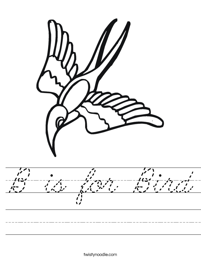 B is for Bird Worksheet
