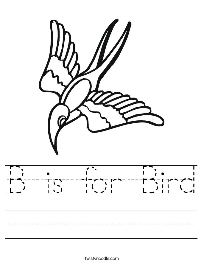 B is for Bird Worksheet - Twisty Noodle