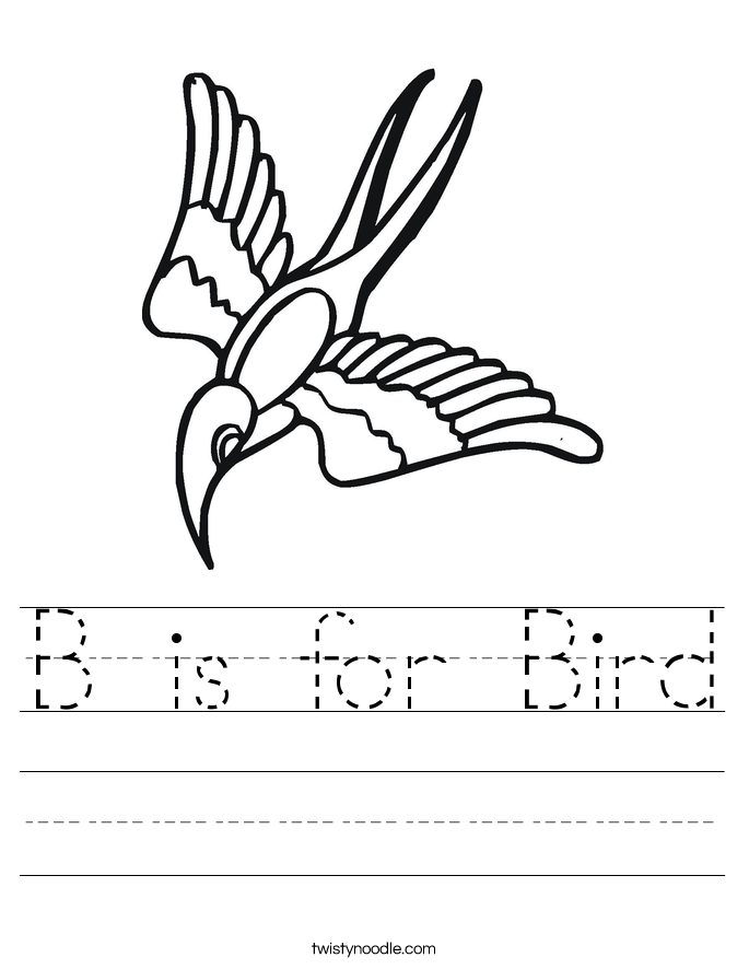 is for Bird Worksheet - Twisty Noodle