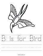 B is for Bird Handwriting Sheet
