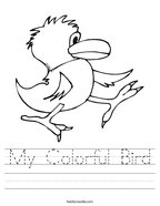 My Colorful Bird Handwriting Sheet