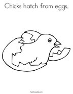 Chicks hatch from eggs Coloring Page
