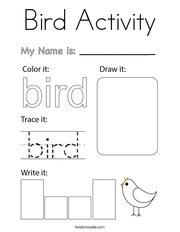 Bird Activity Coloring Page