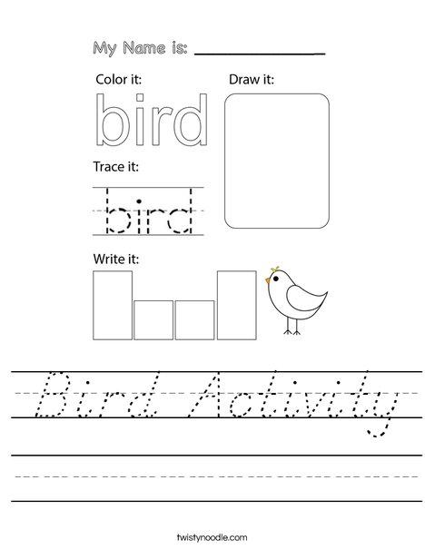 Bird Activity Worksheet