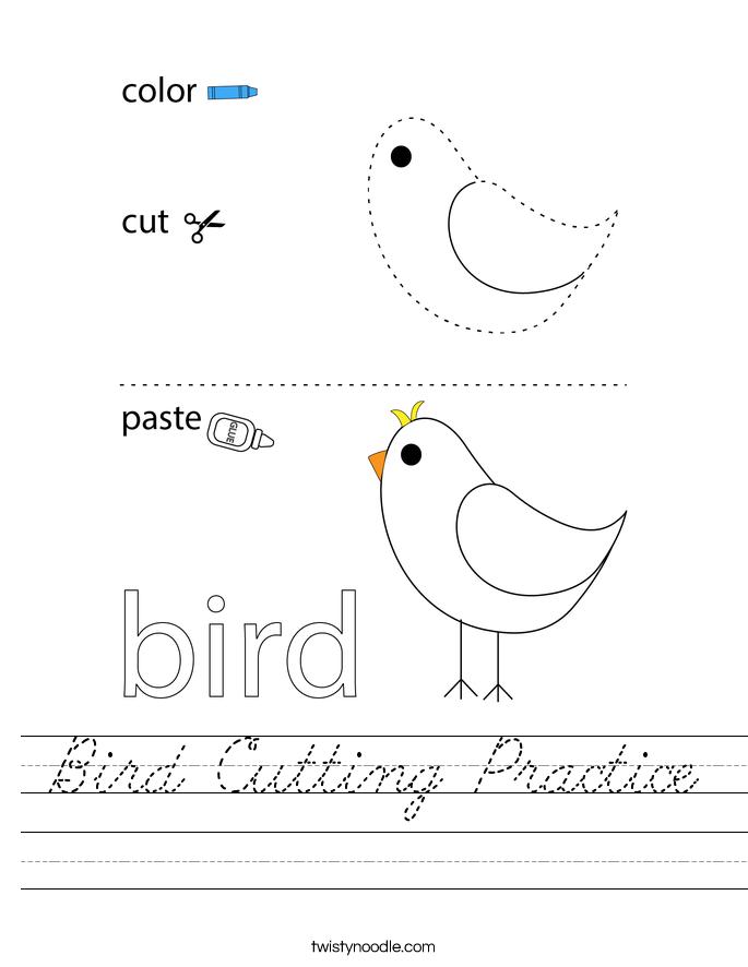 Bird Cutting Practice Worksheet