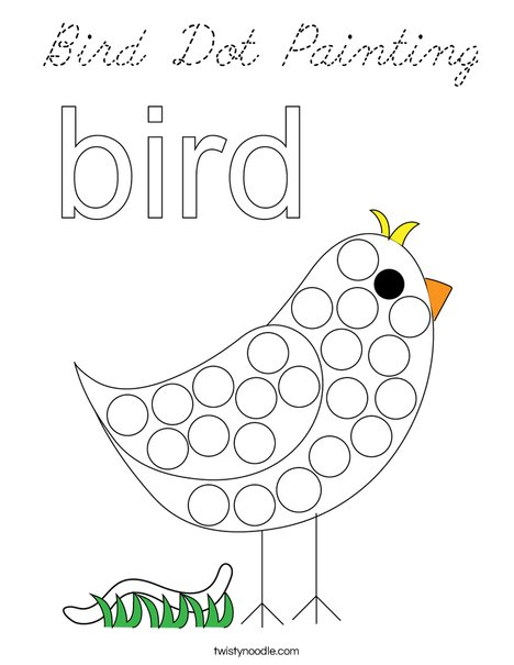 Bird Dot Painting Coloring Page
