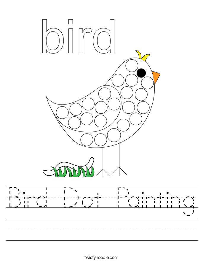 Bird Dot Painting Worksheet