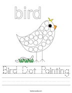 Bird Dot Painting Handwriting Sheet