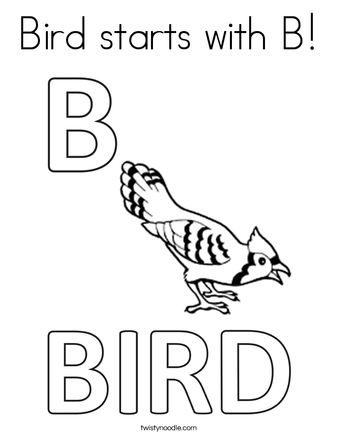 Bird starts with B! Coloring Page