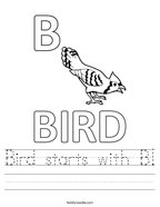 Bird starts with B Handwriting Sheet