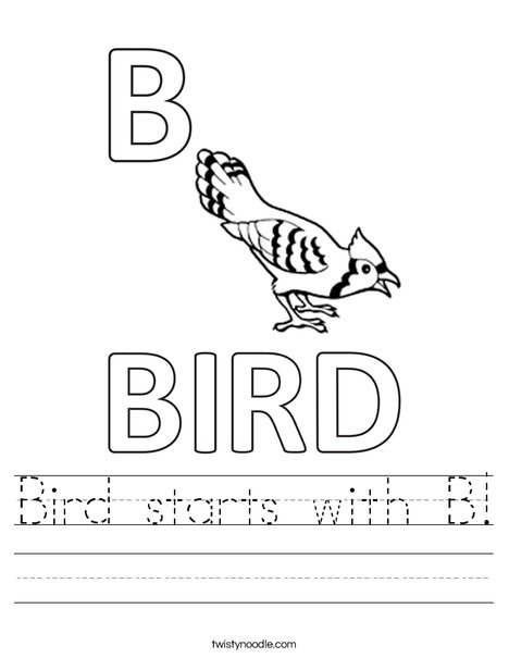 Bird starts with B Worksheet