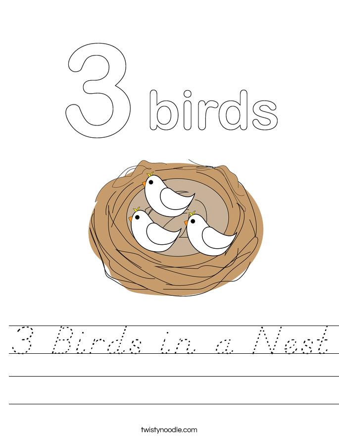3 Birds in a Nest Worksheet