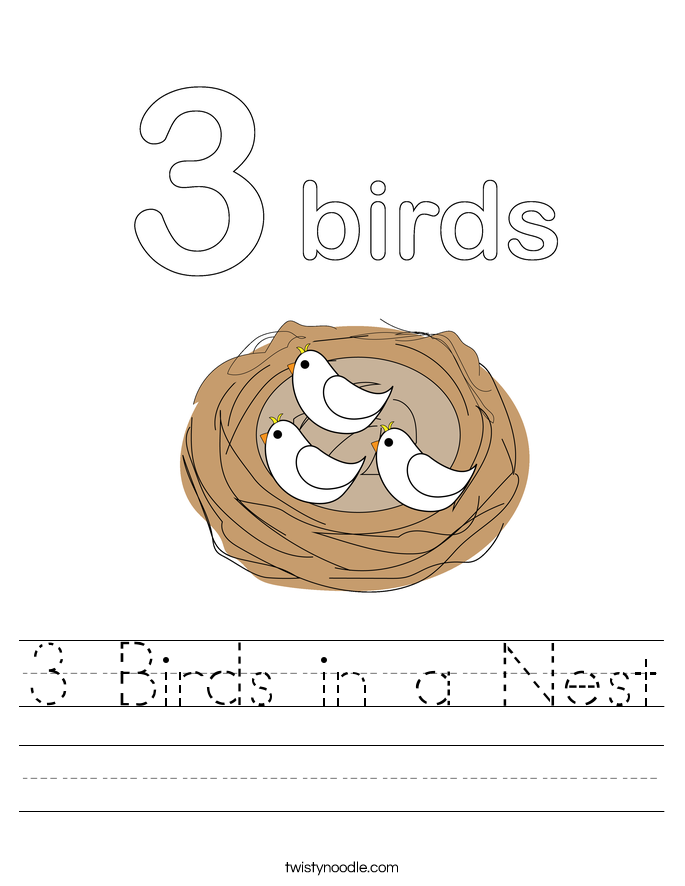 3 Birds in a Nest Worksheet