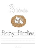 Baby Birdies Worksheet