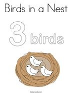 Birds in a Nest Coloring Page