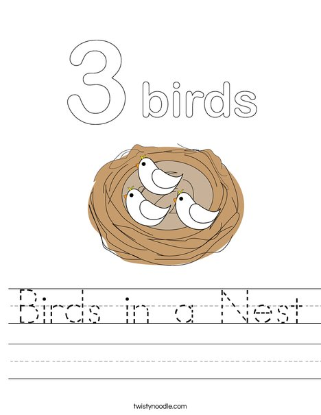 Birds in a Nest Worksheet