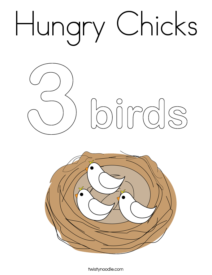 Hungry Chicks Coloring Page