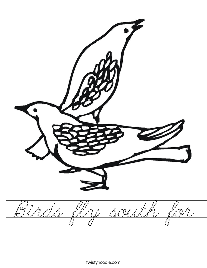 Birds fly south for Worksheet