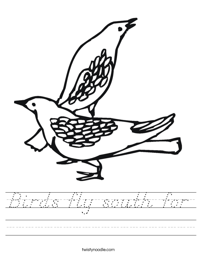Birds fly south for Worksheet