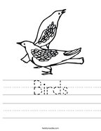 Birds Handwriting Sheet