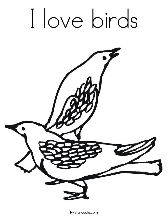 I love birds Coloring Page