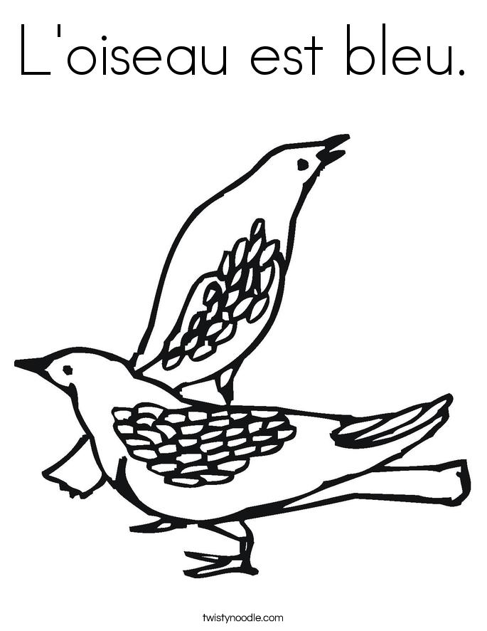 L'oiseau est bleu. Coloring Page