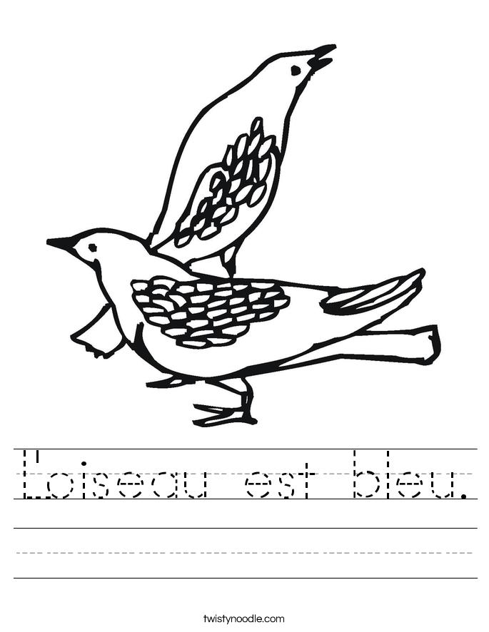 L'oiseau est bleu. Worksheet