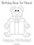 Birthday Bear for Nana! Coloring Page