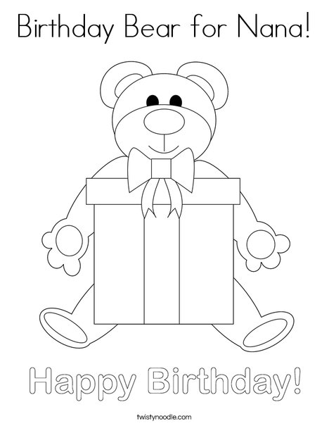 Birthday Bear Coloring Page
