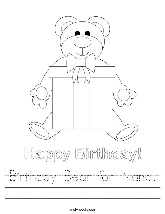 Birthday Bear for Nana! Worksheet