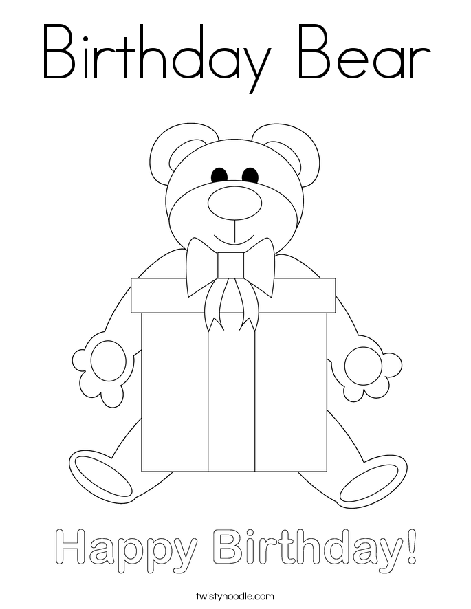 Birthday Bear Coloring Page Twisty