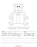 Birthday Bear Handwriting Sheet