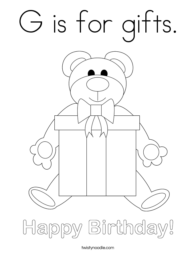 G is for gifts. Coloring Page