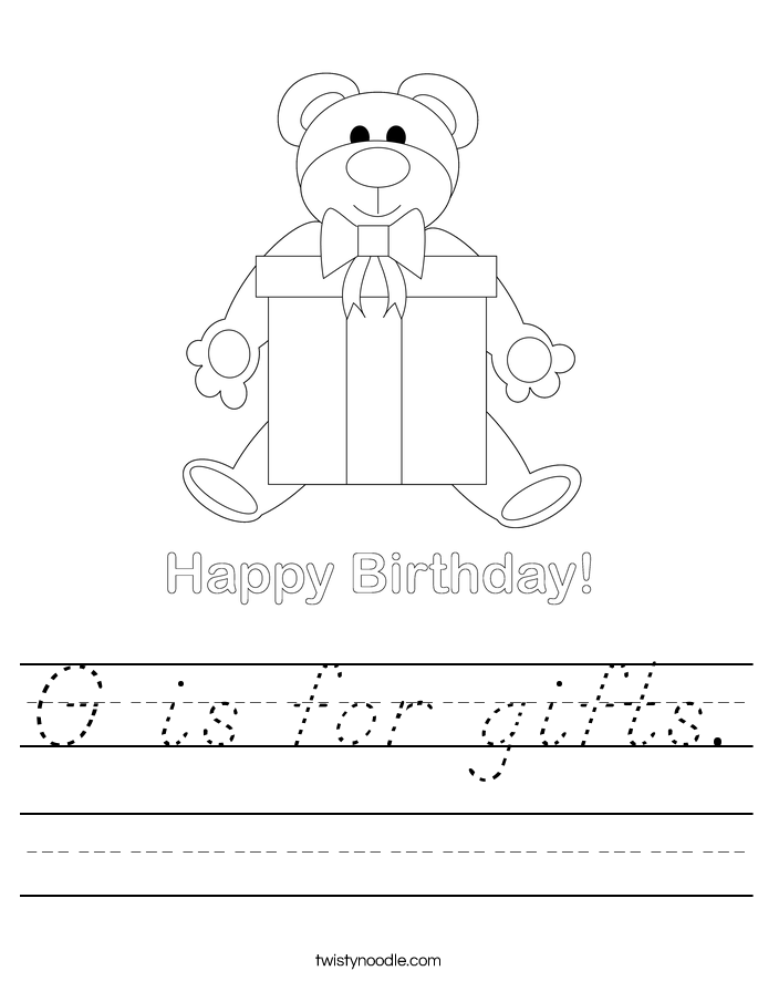 G is for gifts. Worksheet