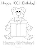 Happy 100th Birthday! Coloring Page