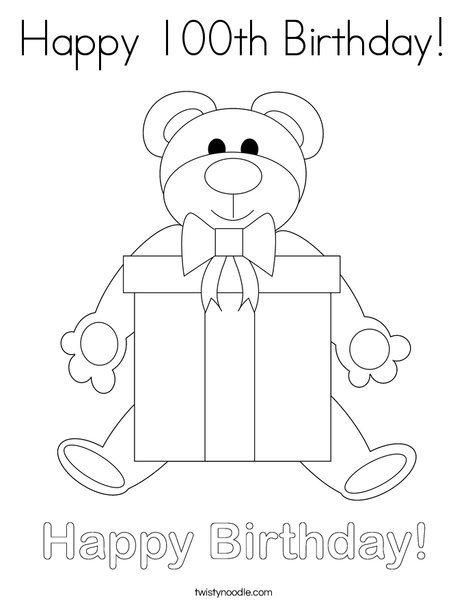 Happy 100th Birthday Coloring Page - Twisty Noodle