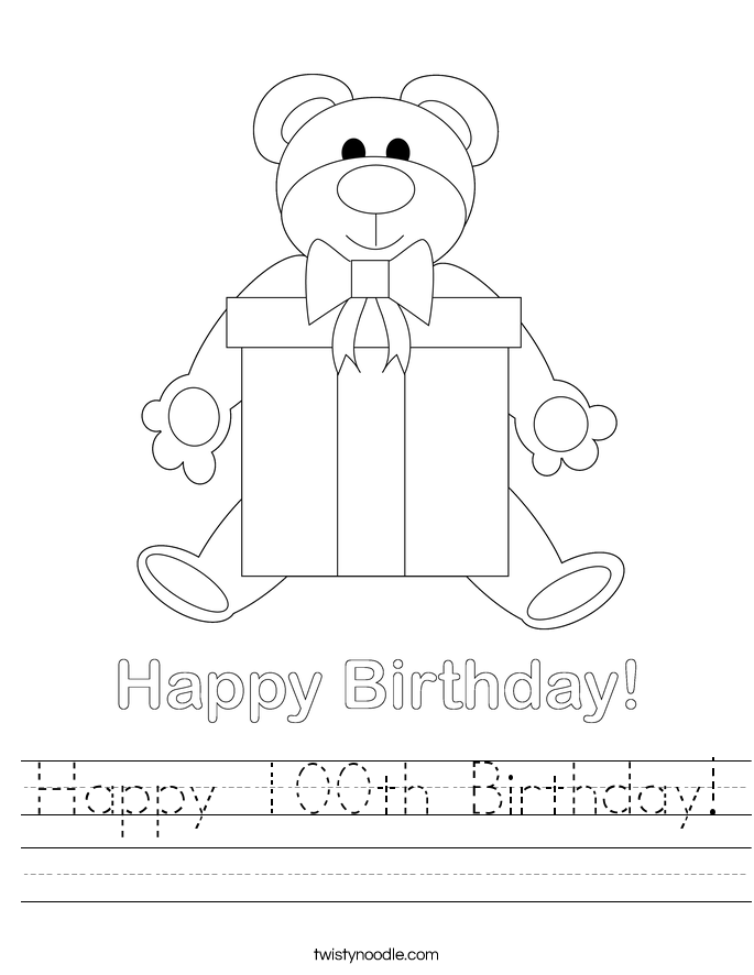 Happy 100th Birthday! Worksheet