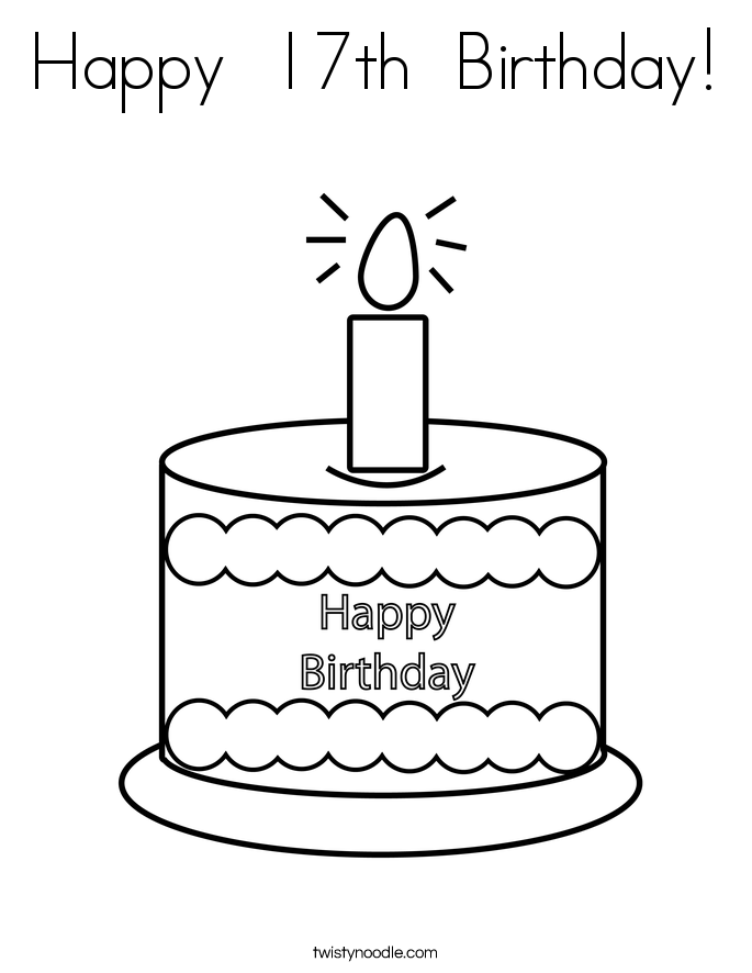 Happy  17th  Birthday! Coloring Page