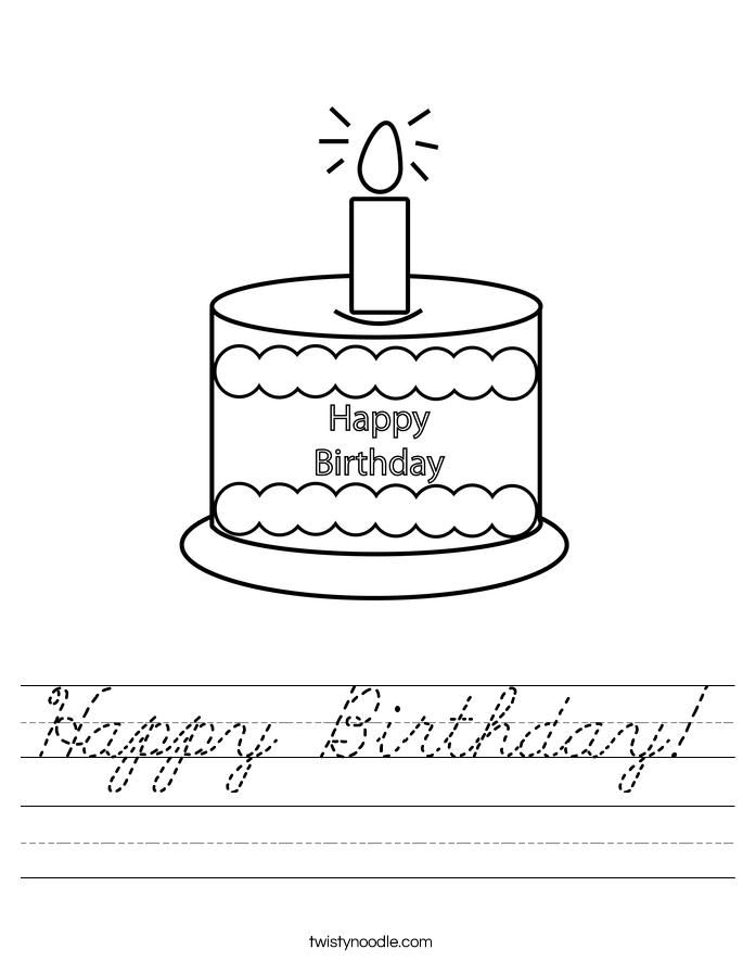 happy birthday worksheet cursive twisty noodle. Black Bedroom Furniture Sets. Home Design Ideas