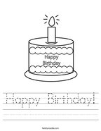 Happy Birthday Handwriting Sheet