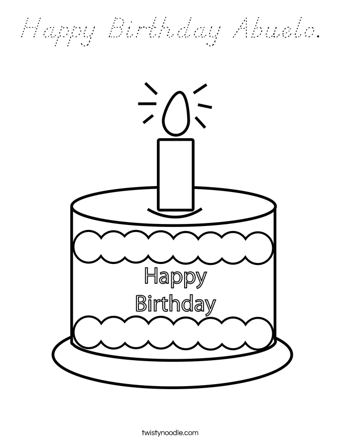 Happy Birthday Abuelo. Coloring Page