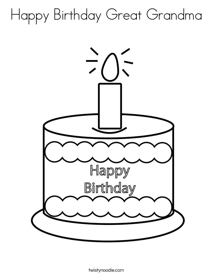 Happy Birthday Great Grandma Coloring Page - Twisty Noodle