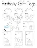 Birthday Gift Tags Coloring Page