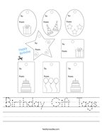 Birthday Gift Tags Handwriting Sheet