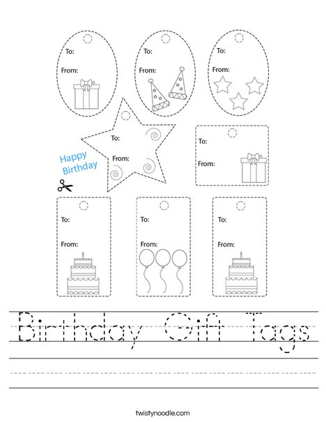 Birthday Gift Tags Worksheet