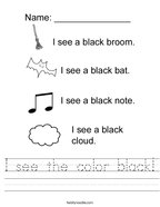 I see the color black Handwriting Sheet