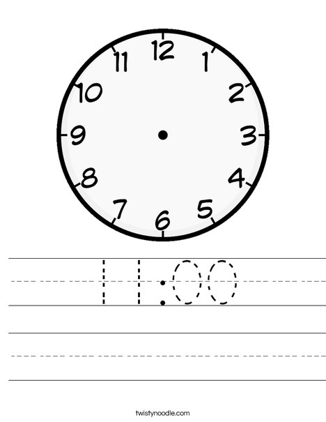 Blank Clock Worksheet